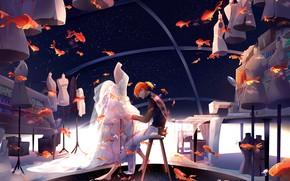 Picture fish, goldfish, guy, mannequins, stylist, tailor