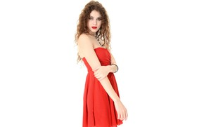 Picture sexy, dress, white background, curls, brown hair, beauty, in red, Heidi Romanova