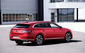 Picture red, the building, Volkswagen, universal, Shooting Brake, R-Line, 2020, Arteon, eHybrid