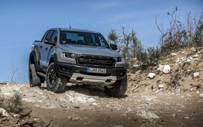 Picture the sky, stones, grey, vegetation, Ford, Raptor, pickup, Ranger, 2019
