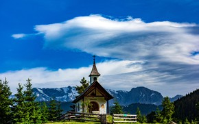 Picture the sky, clouds, mountains, chapel