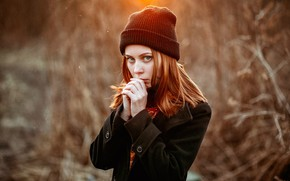 Picture autumn, hat, sponge, redhead, Igor Kupriyanov, photo filter, Vlad Vorobiev