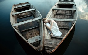 Picture girl, mood, boat