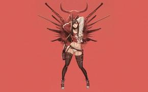 Picture Girl, Gun, Sexy, Art, Guns, Weapon, Minimalism, Characters, Cowboy, Ren Wei Pan, Red Bunny Revolver