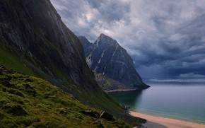 Picture sea, beach, the sky, clouds, mountains, clouds, nature, overcast, rocks, Norway
