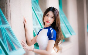 Picture look, Asian, posing, the wall, look, asian, posing, bright makeup, young girl, young girl, against …