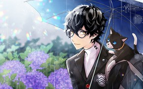 Picture flowers, rain, the game, umbrella, anime, art, guy, hydrangea, Person 5, Persona 5