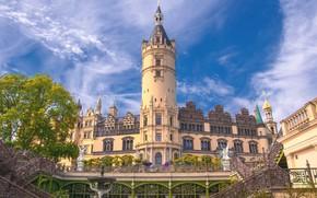 Picture castle, tower, Germany, architecture, Schwerin, Schwerin Castle