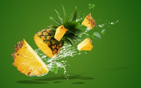 Picture water, squirt, splash, pineapple