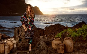 Picture sea, look, girl, sunset, pose, shore, model, figure, beautiful, Barbara Palvin