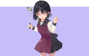 Picture girl, grimace, ladle