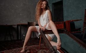 Picture girl, mirror, curls, legs, Ekaterina Surkova