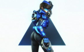 Picture ass, girl, guns, glasses, costume, Tracer, overwatch, lena oxton