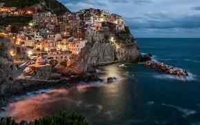 Picture sea, landscape, night, nature, rock, home, lighting, Italy, the village, Manarola, Manarola, Cinque Terre, Cinque …