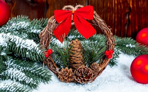 Picture photo, Snow, Branches, New year, Bumps, Bow, Wreath