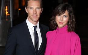 Picture night, two, smile, Benedict Cumberbatch, Benedict Cumberbatch, pregnancy, wife, Sophie Hunter