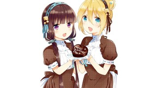 Picture white background, blue eyes, friend, bezel, bangs, chocolate cake, two girls, happy valentine's day, Blend …