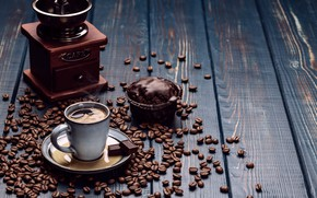 Picture coffee, chocolate, cake, coffee beans, cupcake, Cup and saucer