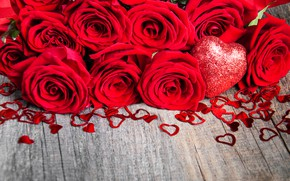 Picture roses, bouquet, hearts, red, Olena Rudo
