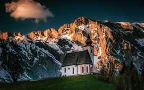 Picture mountains, Austria, Alps, Church, Austria, Alps, The Church Of St. Nicholas, Dienten, Served, Parrish Church …
