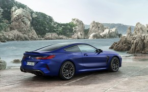 Picture rocks, shore, coupe, BMW, back, 2019, BMW M8, M8, M8 Competition Coupe, M8 Coupe, F92