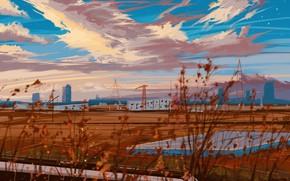 Picture autumn, the city, train