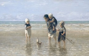 Picture oil, picture, canvas, 1872, Joseph Israels, Children by the sea, Jozef Israels