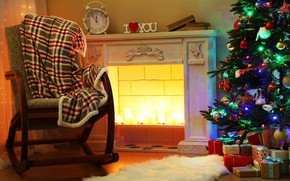 Picture comfort, books, tree, chair, New Year, Christmas, gifts, blanket, fireplace