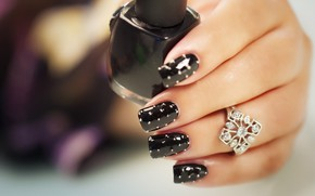 Picture ring, fingers, lacquer, manicure