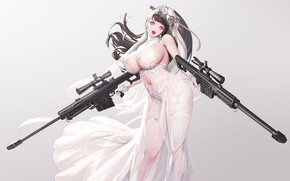 Picture girl, sexy, weapons