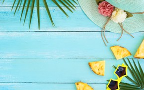 Picture sea, summer, stay, hat, glasses, pineapple