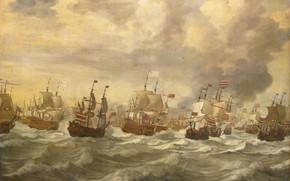 Picture oil, ships, picture, canvas, Willem van de Velde I, Виллем ван де Велде Старший, Эпизод …