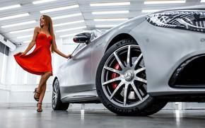 Picture machine, auto, girl, pose, Mercedes-Benz, red dress, Anton Nazarov