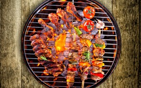 Picture vegetables, tomatoes, kebab, meat, vegetables, grill