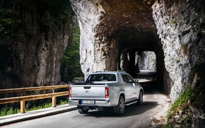 Picture road, rocks, Mercedes-Benz, the tunnel, pickup, 2018, X-Class, gray-silver