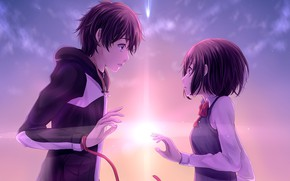 Picture romance, The sky, anime, art, two, Kimi no VA On, Your name