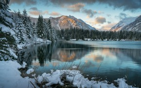 Wallpaper winter, forest, clouds, snow, mountains, lake, ate, the snow, pond