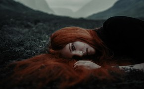 Picture girl, face, mood, the situation, red, redhead, long hair