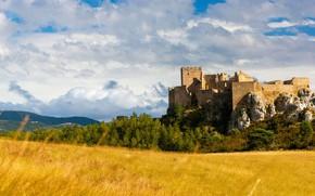 Picture field, autumn, fortress, Spain, Aragon, замок Лоарре