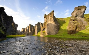 Picture river, stones, canyon, Iceland, Iceland, Rock canyon