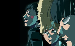 Picture guys, black background, Mob Psycho 100, Mob psycho 100