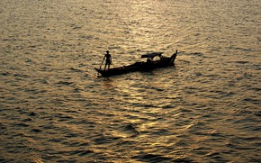 Picture sea, boat, fisherman, morning