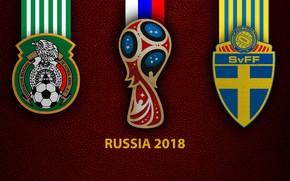 Picture wallpaper, sport, logo, football, FIFA World Cup, Russia 2018, Mexico vs Sweden