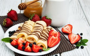 Picture berries, chocolate, Breakfast, strawberry, honey, pancakes, Olena Rudo