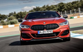 Picture coupe, BMW, track, Coupe, the front, 2018, 8-Series, dark orange, M850i xDrive, Eight, G15