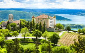 Picture mountains, lake, castle, France, vineyard, France, Provence, Lago de St croix, the Yellowthroated, Aiguines