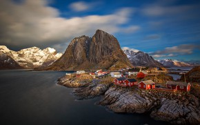 Picture sea, home, Norway, Hamnøy