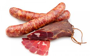 Picture meat, sausage, salmon