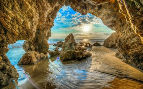 Wallpaper sand, sea, beach, the sky, the sun, clouds, stones, rocks, coast, HDR, horizon, CA, USA, ...