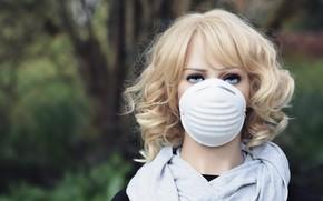 Picture look, girl, doll, mask, dummy, pandemic, coronavirus, kovid-19, у нас масочный!